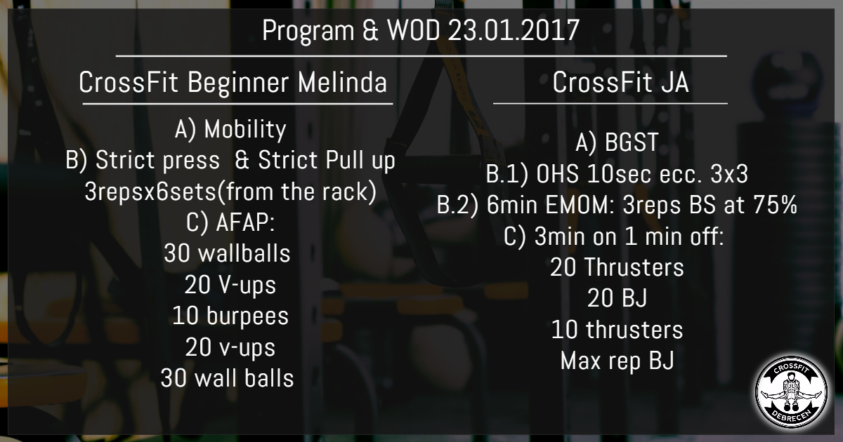 CrossFit Program & WOD 23.01.2017