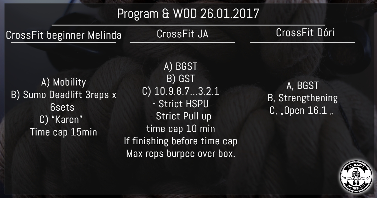 CrossFit Program & WOD 26.01.2017